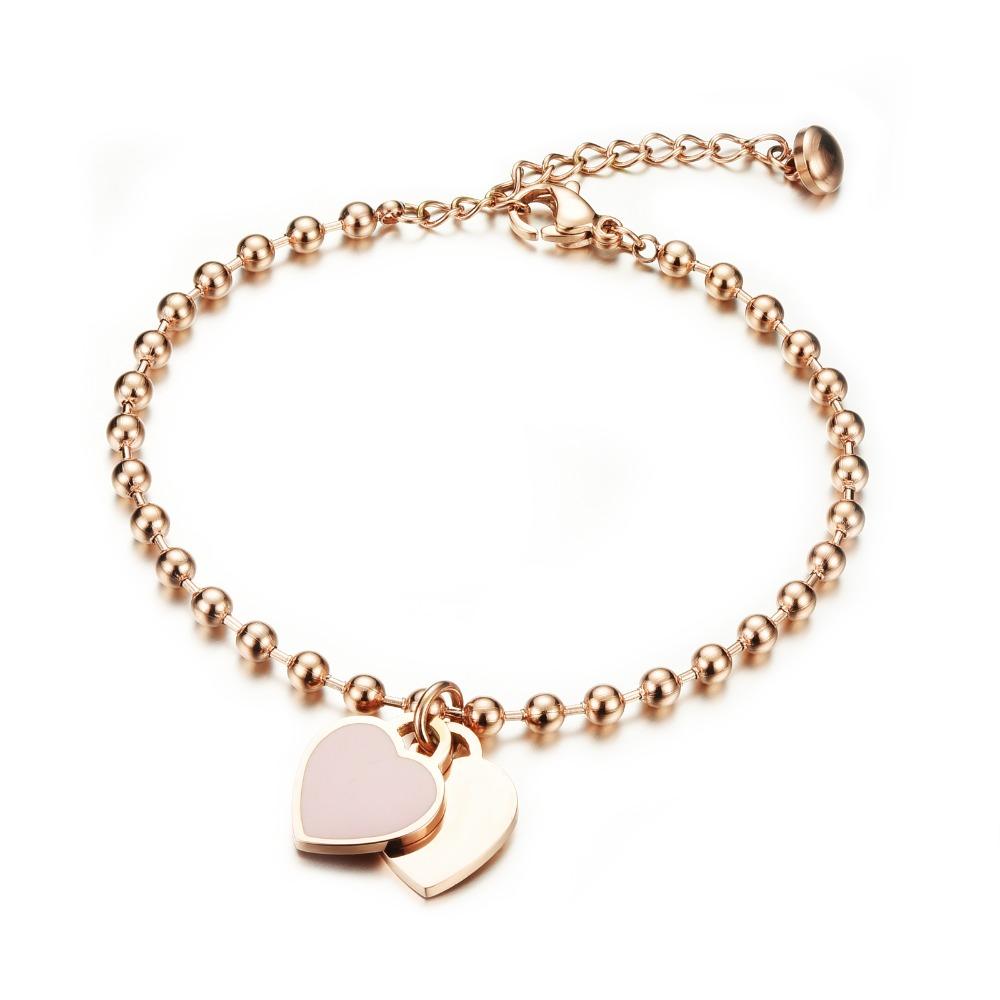 Korean fashion girls carter love bracelet Women rose gold bead heart charm bracelet New simple stainless steel womens bracelet(China (Mainland))