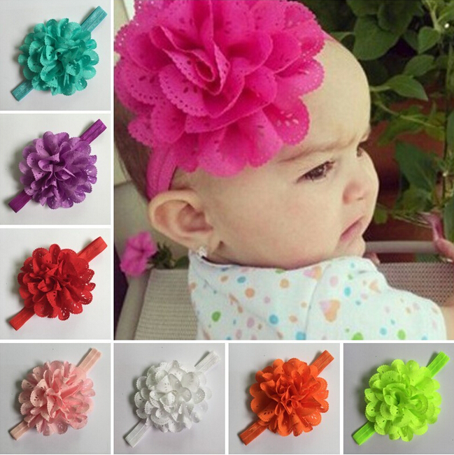 Girl's Head Accessories Flower hairband Newborn Baby Headband princess headband elastic flower hairband W064(China (Mainland))