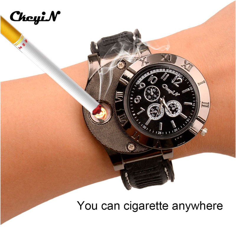 Newest Windproof Electronic Flameless Cigar Cigarette Lighter Rechargeable USB Watch Lighter Red LED Wrist Watch Lighter (45)(China (Mainland))