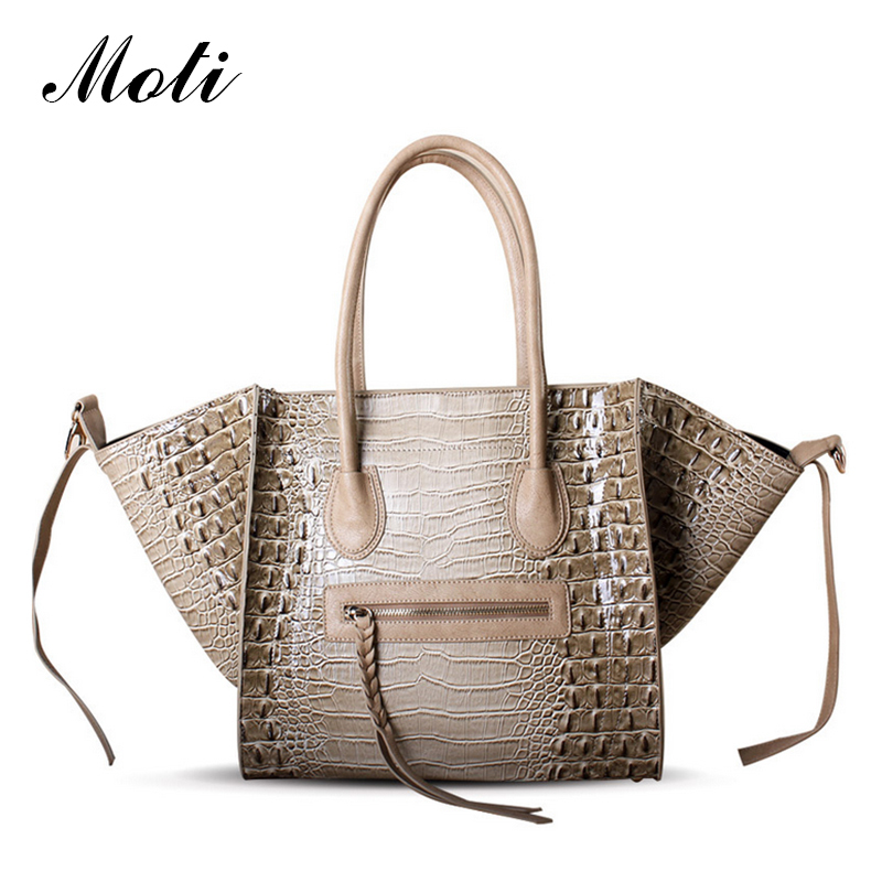 Moti Crocodile Shaded Tote Shoulder Bag New Women Luxury Classic Designer Inspire Celebrity Leather Smile Face Smiley Handbag 97(China (Mainland))