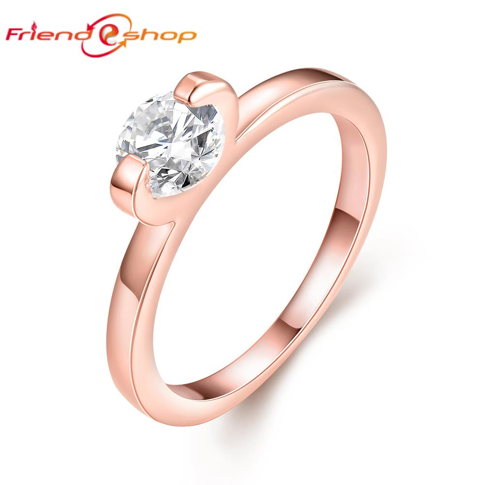 AR013 8 crystal engagement jewelry charm simple rose gold plated rings for wo