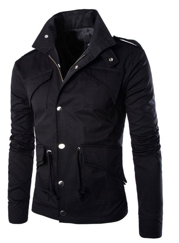 Free shipping 2015 winter British Style Trench Coat Men Zipper Men's Jackets Brand Outdoors Overcoat Black Mens Jacket(China (Mainland))