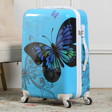 20'' Women Butterfly Rolling Luggage/Girl Vintage Design ABS Trolley Boarding Bags /Hardside Suitcase On Wheels Traveller Case(China (Mainland))