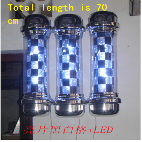 315D size Roating Stainless steel Barber Pole with lamp.Salon Equipment.Barber Sign.barber shop Rotating lamp free shipping(China (Mainland))
