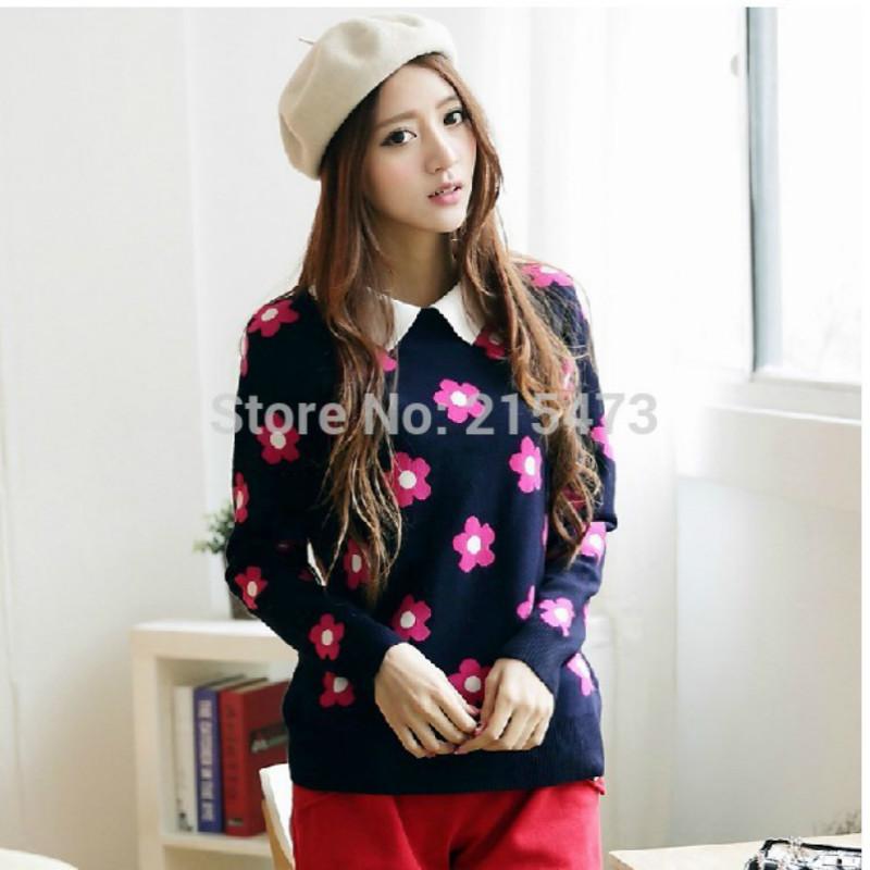 New Woman Autumn Free Size Turn-Down Long Sleeve Sunflower Slim Cute Thin Sweater Woman Popular 3Colors Lovely Fashion Knittwear(China (Mainland))