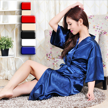 High quality girls womens silk robes long stain silk robes for women and girl kimono charming sleepwear nightdress female gowns