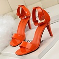 New Summer Women Pumps Fashion Summer OL High Heels Shoes Metal Buckle Sandal Patent Leather Belt