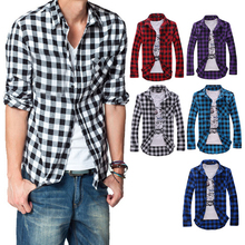 Men s Cotton Turn down Collar font b Plaid b font Double Beasted Full Sleeves Casual
