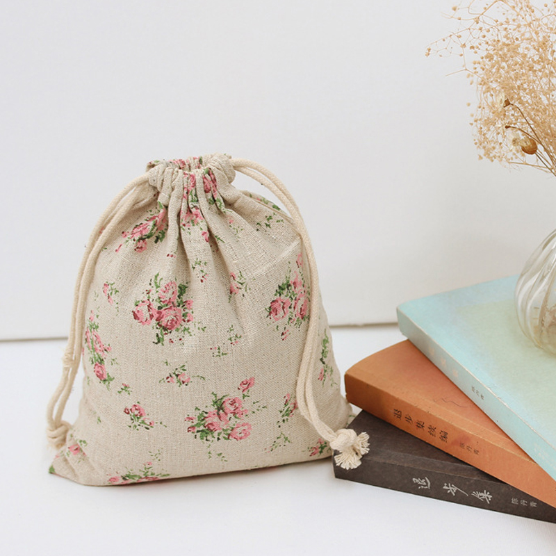 Pink Multiflora Rose Cotton Linen Small Storage Bag for Perfume / Middle Large Vintage Storage Bags for Sundries Free Shipping(China (Mainland))