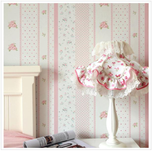 papel de parede. Eco-friendly pvc Flowery Stripe children's pink blue & orange Wallpaper flower kids wall paper roll for bedroom(China (Mainland))