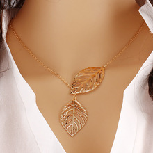 American jewelry metal leaf Necklace Pendant Chain double leaves clavicle short female aliexpress explosion accessories