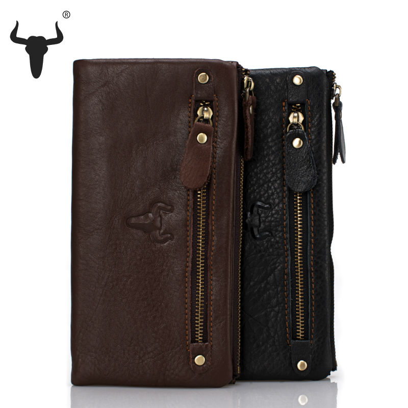 2015 New Genuine Leather Women Organizer Wallets Vintage Zipper Long Practical Purse Cell Phone Pocket Coin Men Travel Wallet(China (Mainland))