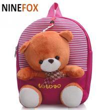 22*6*27cm Lovely Korean Cartoon Style School Bag Plush Teddy Bear Children School Bag student Backpack *L(China (Mainland))