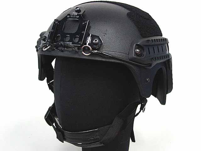 Airsoft IBH Helmet with NVG Mount & Side Rail Black BK