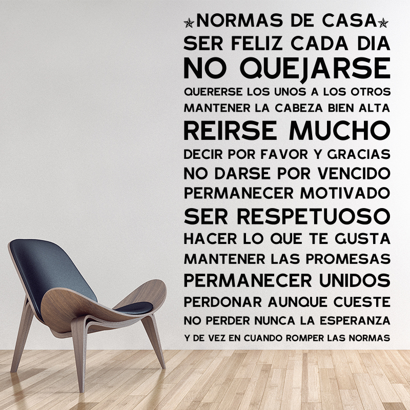 product Spanish Version NORMAS DE CASA House Rules Wall Sticker Home decor Family Quote house Decoration Vinyl Wall Decals kids room