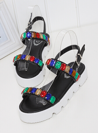 Fashion 2015 female multicolour candy diomand stone casual sandals women fashion casual sandle young girl cute trifile shoes(China (Mainland))