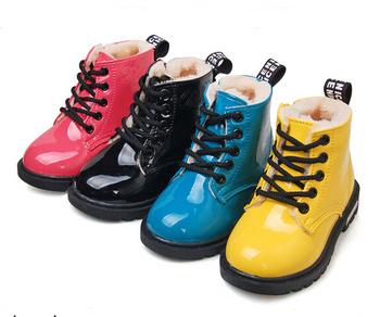 Новые 2015 зимой дети мартин согреться дети плюс мех снегоступы искусственная кожа ботильоны мальчики-девочки обувь ботинки дождя 7