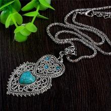 СЧАСТЛИВЫЙ ГОД Двойное Сердце Зеленый Смола Камень Ожерелье Серебряный Цвет женская Кристалл Ожерелье Ювелирных Изделий(China (Mainland))