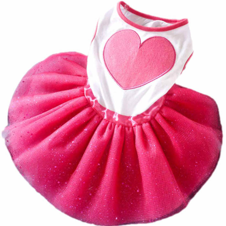Newly Design Rose Red Pet Dog Lace Pleated Tutu Dresses Puppy Outfit With Big Heart Pet Products(China (Mainland))