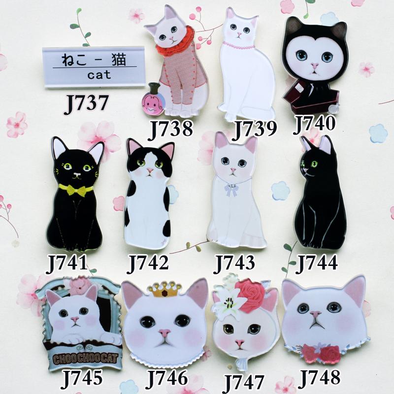New arrival 2014 Fashion Acrylic HARAJUKU badge Animal cat brooches hijab pins pin up brooch pins(China (Mainland))