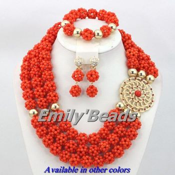 3 Layers African Pink Coral Beads Jewelry Sets Nigerian Wedding Indian Bridal Necklace Jewelry Set Free Shipping CJ254
