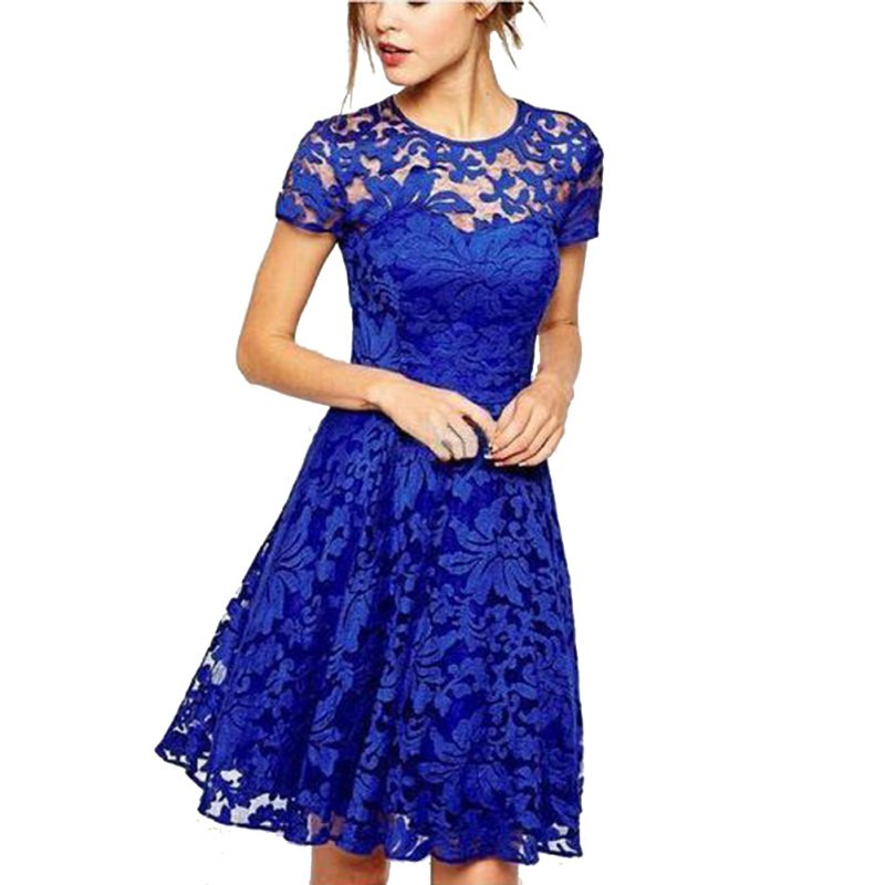 Popular Lace Sleeve Summer Party Dress-Buy Cheap Lace Sleeve ...