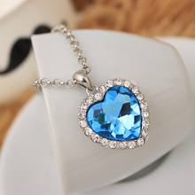 Fashion Neoglory Titanic Ocean Heart Pendant Necklace For Women Crystal Rhinestone Jewelry Gift New Sale free