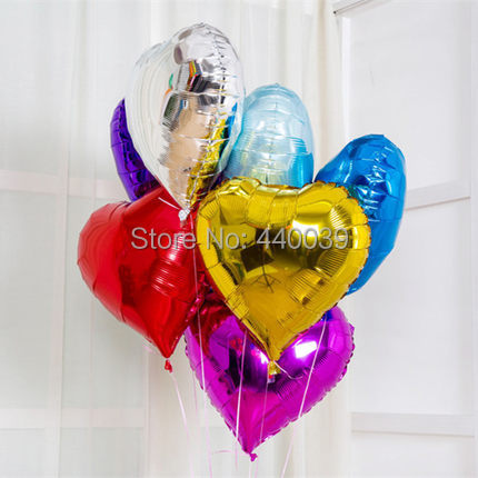 Free shipping 18inch Colorful Heart shape Mylar Balloons Party Decoration Air Balloons Wedding Foil balloons Helium Balloon FB14(China (Mainland))