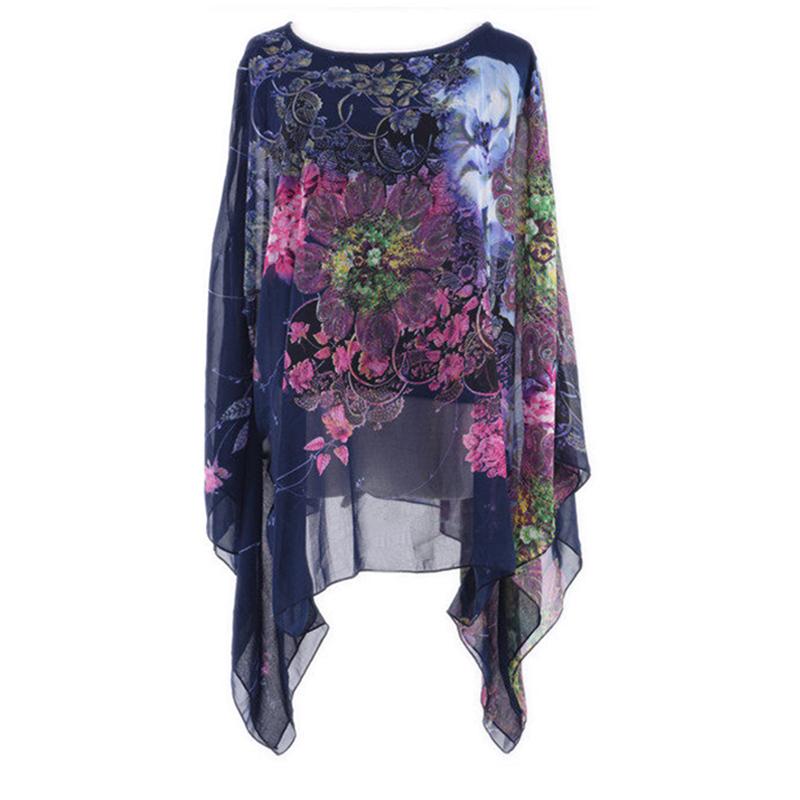 Summer Style Women Kimono Casual Bohemian Style Batwing Sleeve Beach Floral Printed Loose Shirt Chiffon Blouse Tops X*E3306(China (Mainland))