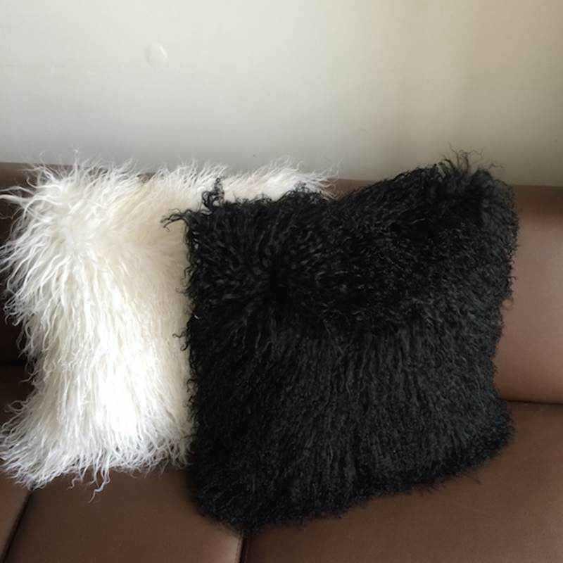 Free Shipping 4pcs Lot Mongolian Real Sheepskin Cushion