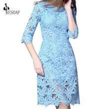 Buy Women Lace Dress Half Sleeve Knee-Length Lace Dresses Party Winter lace Dress vestidos dresses women for $20.53 in AliExpress store