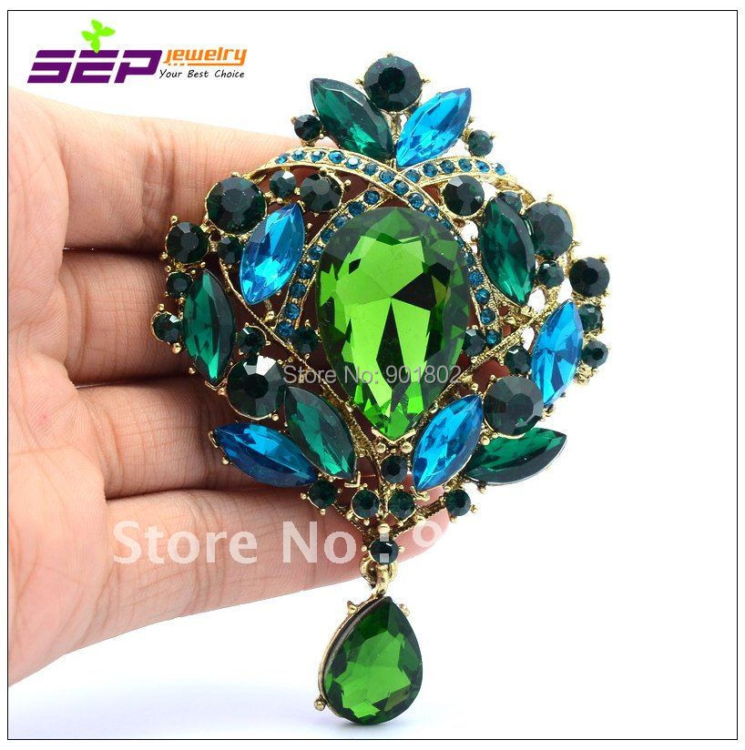 2016 Top Fashion Direct Selling Trendy Brooch Pin Broche Flower Dangle Broach Women Jewelry 3.5 inch Crystals Brooches 4082 - SEP store