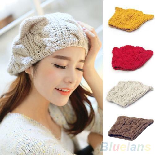 Women s Winter Knit Crochet Braided Cat Ears Beret Beanie Ski Knitted Hat Cap 1QEW 4BTT