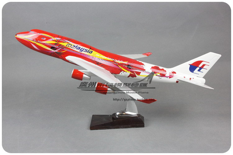 49cm Resin Air Malaysia Big Red Flower Hibiscus Airlines Plane Model Boeing 747 B747 400 Airways Aircraft Airplane Model W Stand(China (Mainland))