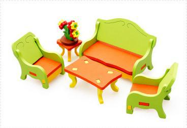 Free delivery factory price living room dressing table 3D assembling furniture, toys for children, scale models wooden toys(China (Mainland))