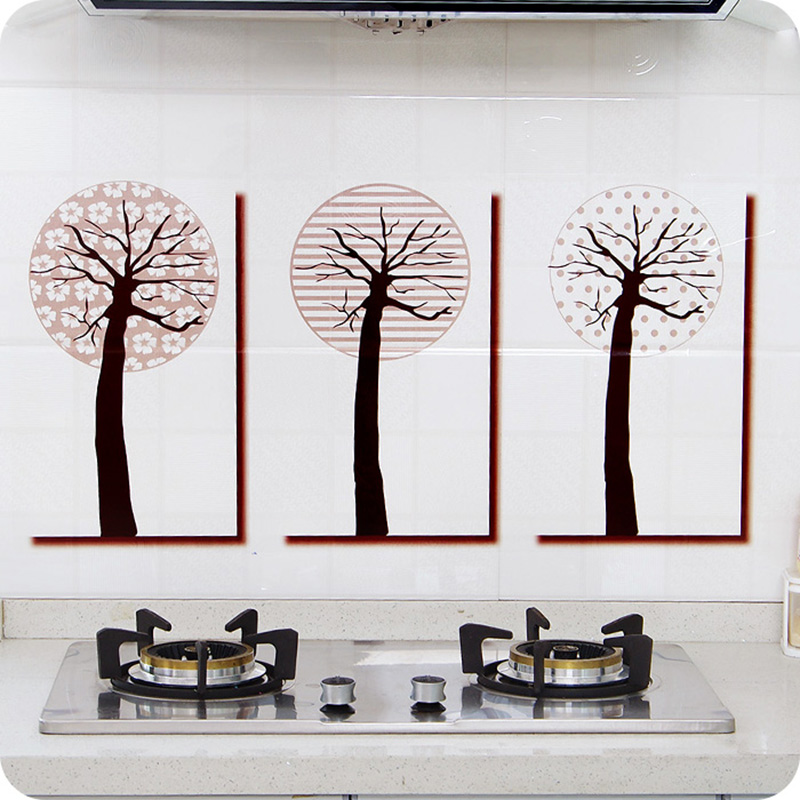 Household Heat Resistant Easy To Clean Tree Pattern Oil Proof Sticker Wall Murals(China (Mainland))