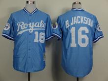 Hot Sale Kansas City Royals Mens Jerseys #16 Bo Jackson Blue Throwback Baseball Jersey Embroidered Logos Mixed Orders 1818(China (Mainland))