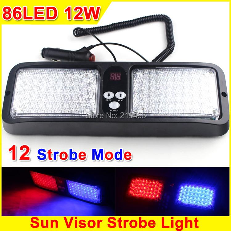 2015 New 86LED 12W Car Sun Visor Emergency Strobe Lights Police Strobe LED Light Construction Vehicles Ambulances Warning Light(China (Mainland))