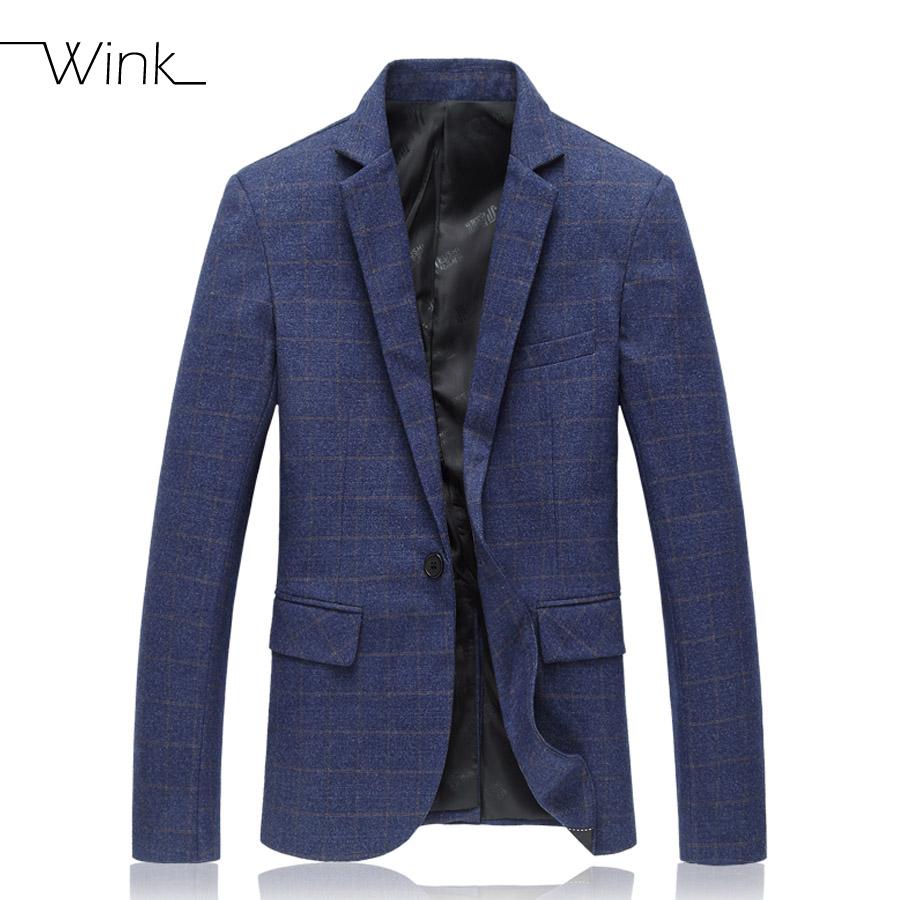 Men Navy Blue Plaid Blazers Suits 2015 Cotton Slim Suit Jacket New Brand Business Casual Dress Plus Size M-6XL J018