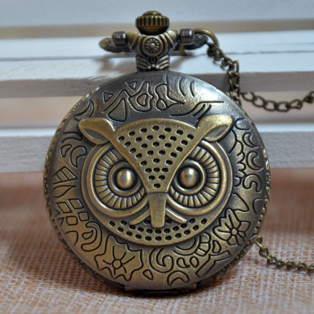 Bronze Owl Necklace Chain Quartz Pocket Watch Fast Shipping Men Women Watch Gift Regarder P055(China (Mainland))