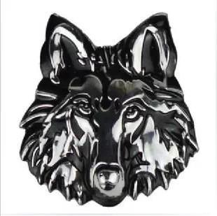 3d metal emblem wolf head 7*6.5cm lifelike stereoscopic 3D automotive decorative car sticker car styling(China (Mainland))