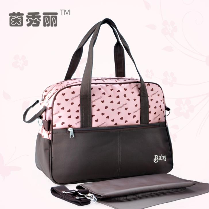 Fashion Multifunctional Baby Diaper Bag Made In Satin Hot Sales Shipping Free Mommy Bags(China (Mainland))