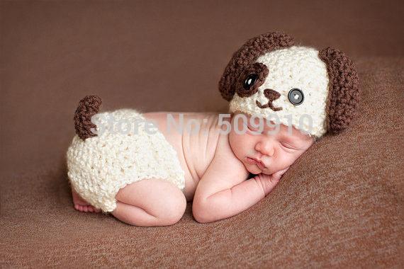 Newborn Baby Crochet Photography Props Handmade Children Lovely dog Beanie Hat and Shorts Set Toddler Costume BH-1073(China (Mainland))