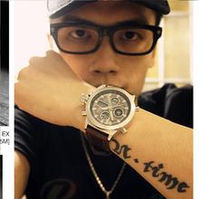 2015 nueva moda de lujo de la marca de cuero marrón militar relojes Relogio Masculino deportes Digital resistente al agua reloj para hombre U