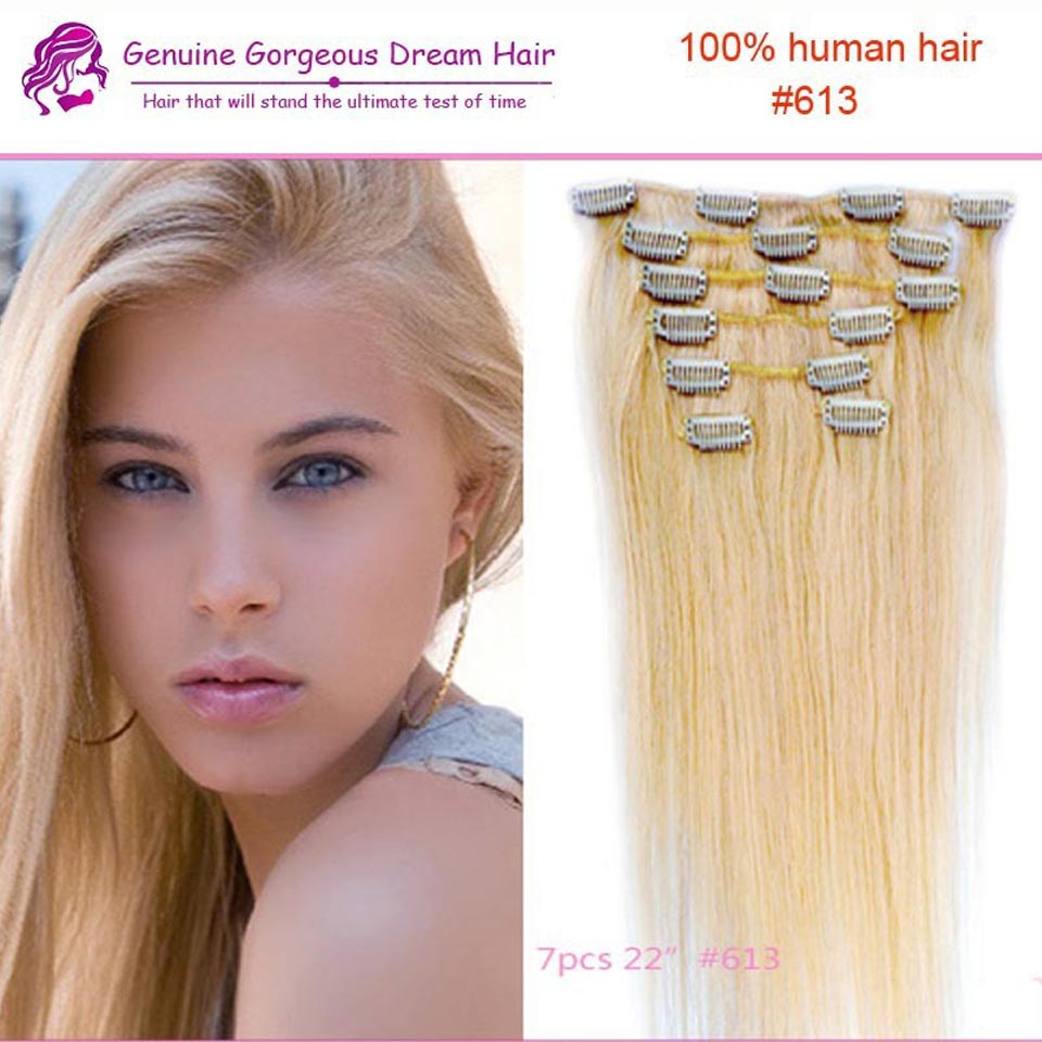 Clip In Remi Hair Extensions 613 Blonde Human Hair Clip In Extensions 7Pcs 70G WomenS Hair Premium Quality 70G /set<br><br>Aliexpress