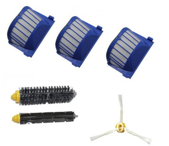 Free Post 3 Aero Vac Filter + Brush kit for iRobot Roomba 600 Series 620 630 650 660 etc vacuum cleaner accessories Replacement(China (Mainland))