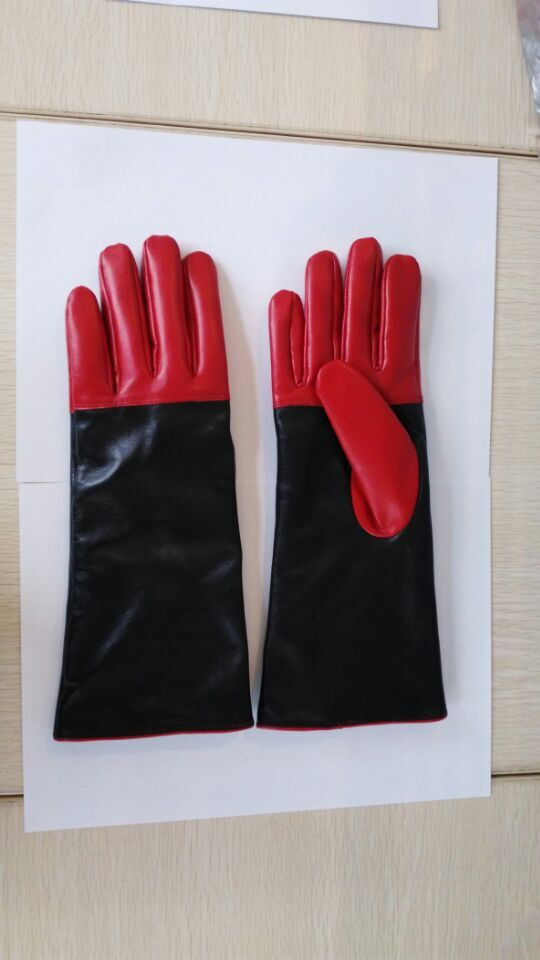 Customed 60cm Long Black and Red Women Premium Sheepskin Leather Gloves with Silk Lining(China (Mainland))