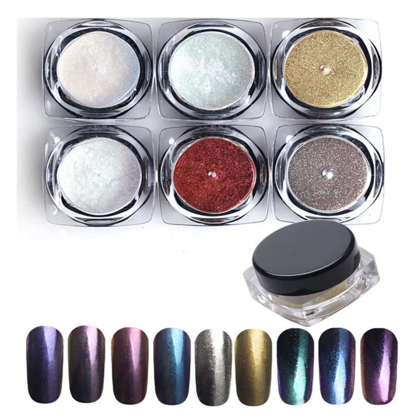 6 colorset chameleon nail polish bling laser pigment nail art glitter mirror dust magic - Laser Colorant Puls