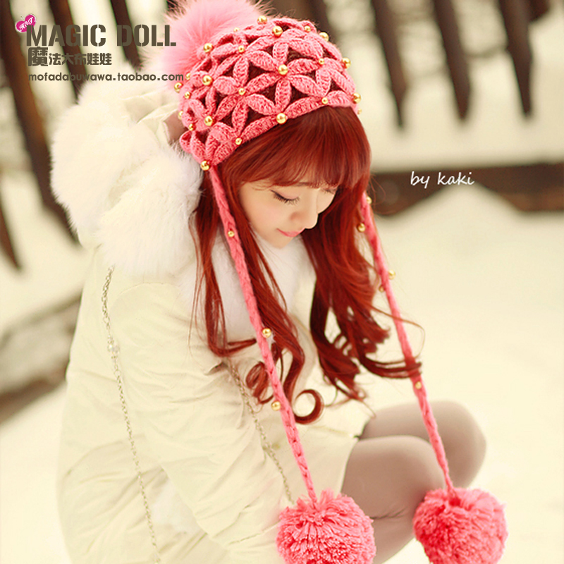 Princess sweet lolita hat honey red cap with fur ball gold pearl flower mesh knitted beanies for gentlewoman young girls customОдежда и ак�е��уары<br><br><br>Aliexpress