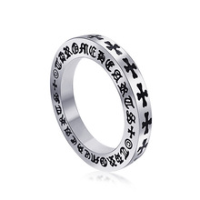 New 316L Titanium Stainless Steel Rings For Men Vintage Punk Man Gothic Roman Black Cross Rings open anillos para los hombres